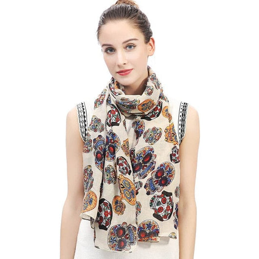 50efd26ccddb3 ... Day of the Dead Multicolored Sugar Skull Print Women's Large Scarf  Shawl Wrap Soft Lightweight for ...