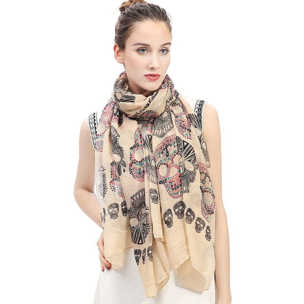 Sugar Skull Print Women's Large Scarf Accessory - Skull Clothing and Accessories Skull only Merchandise
