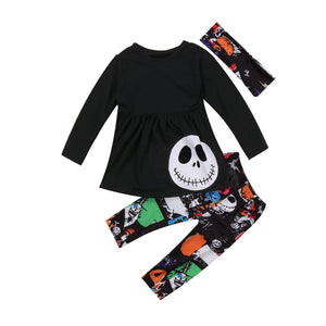 3PCS Toddler Outfits Long Sleeve Skull T-shirt Tops +Pattern Colorful Pants - Skull Clothing and Accessories Skull only Merchandise