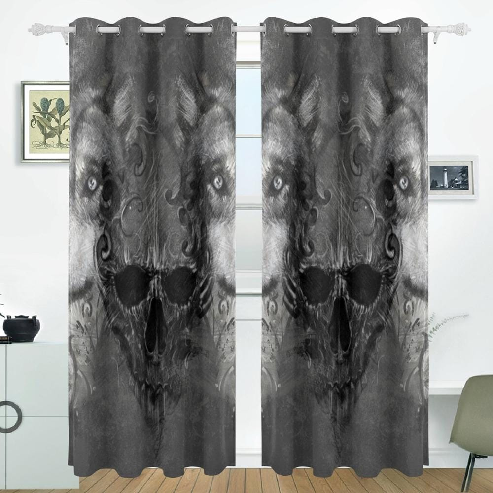 Skull Curtain Drapes Panels Darkening Blackout For Windows - Skull Clothing and Accessories Skull only Merchandise