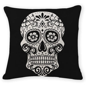 Black & White Skull Head Decorative Pillow Case - Skull Clothing and Accessories Skull only Merchandise