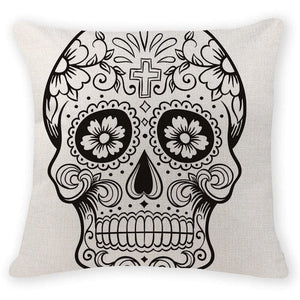 White Skull Head Decorative Pillow Case - Skull Clothing and Accessories Skull only Merchandise