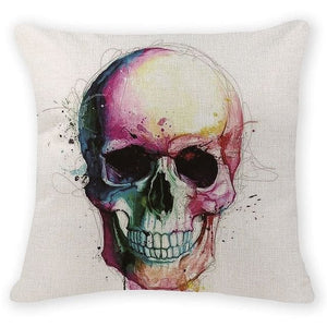 Colorful Skull Head Decorative Pillow Case - Skull Clothing and Accessories Skull only Merchandise