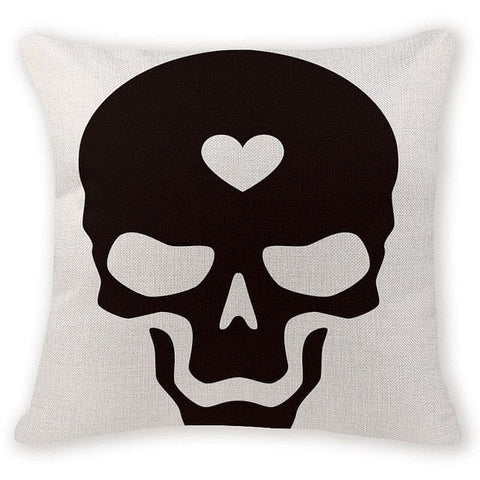 Love Skull Head Decorative Pillow Case - Skull Clothing and Accessories Skull only Merchandise