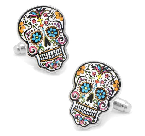 Day Of The Dead Cuff Links Sugar Skull Design - Skull Clothing and Accessories Skull only Merchandise