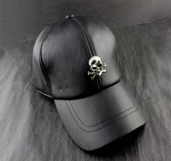 Skull Logo Men's Biker Punk Rocker Real Leather Black Adjustable Hat