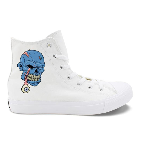 Blue Purple Face Zombie Skull Monster Eyeball Eyes White Black Men Canvas Shoes High Top Women Casual Sneakers - Skull Clothing and Accessories Skull only Merchandise