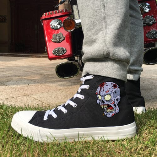 Skull White Black Men Canvas Shoes High Casual Sneakers - Skull Clothing and Accessories Skull only Merchandise
