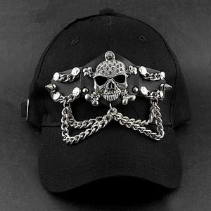 Heavey Metal Skull Chain Punk BIker Black Fashion Hat