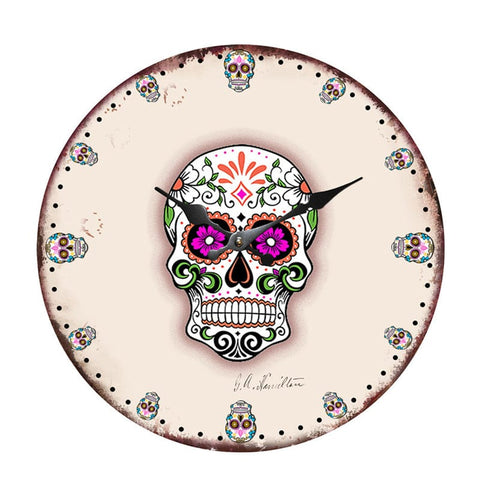 Skull Wall Clock Retro Design Hanging Vintage Silent Home Decoration