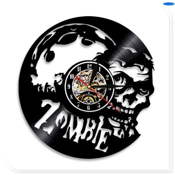 Decorative Skull Wall Clock Made with Vinyl Record - Skull Clothing and Accessories Skull only Merchandise