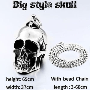 Stainless Steel Punk Skull Pendant Necklace