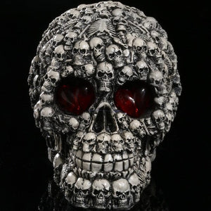 LED Eyes Resin Skull Head Statue Demon Sculpture Home Decor