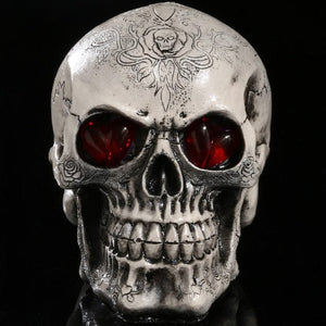 LED Eyes Resin Skull Head Statue Sculpture Home Decor