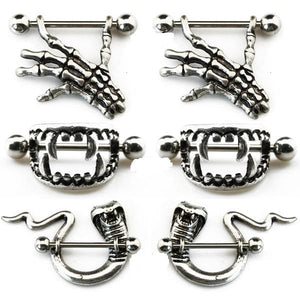3 Pairs Bite Fang, Skull Hand & Snake Body Piercing Jewelry - Skull Clothing and Accessories Skull only Merchandise