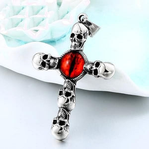 Vintage Cross Skull Red Eye Necklace Stainless Steel