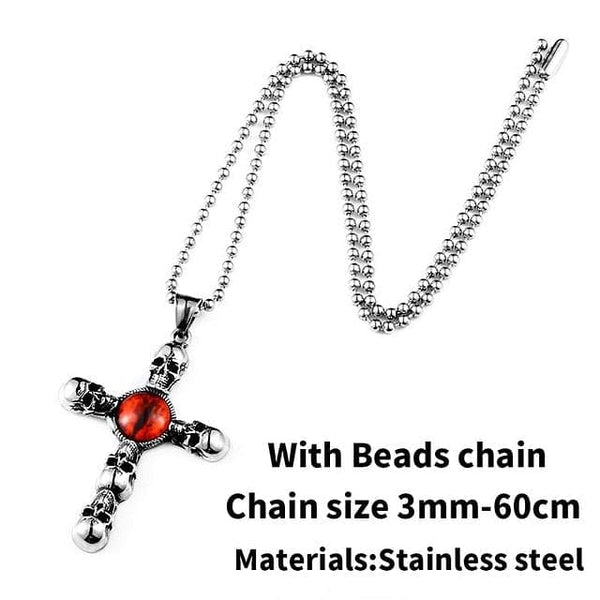 Vintage Cross Skull Red Eye Necklace Stainless Steel - Skull Clothing and Accessories Skull only Merchandise