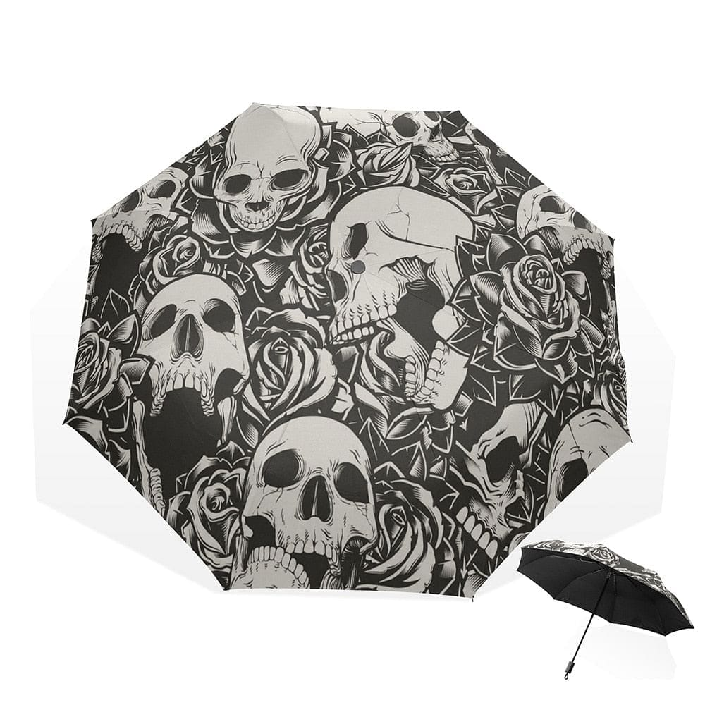 Skull Three Folding Ultra-light Umbrella - Skull Clothing and Accessories Skull only Merchandise