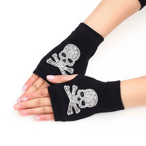 Skull Winter Rivet Warm Knitted Finger less Gloves