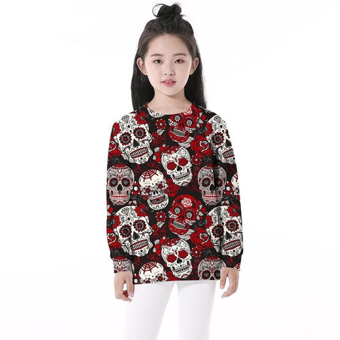 Rose floral skull girls long sleeve sweatshirts pullover