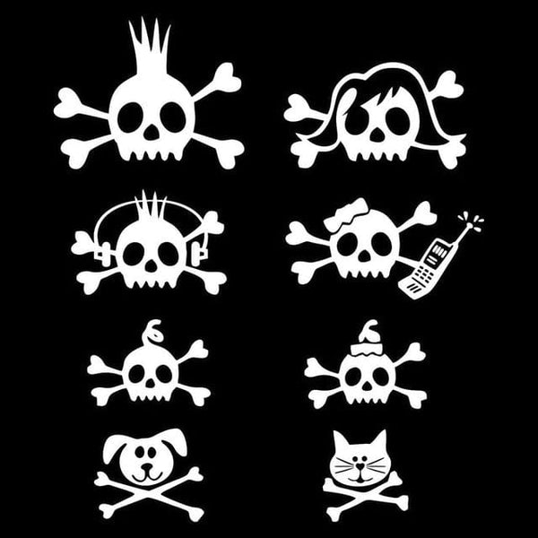 17.1*20CM Fraternity Skull Bone Cross Bar Rocker Family Car Sticker Vinyl Decals Covering The Body Black/Silver C7-0998 - Skull Clothing and Accessories Skull only Merchandise