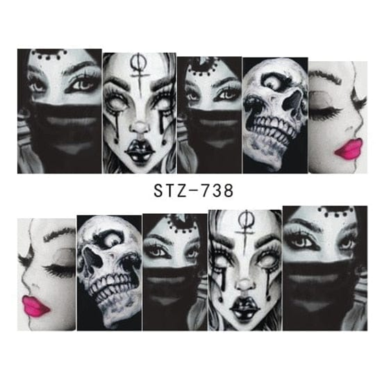 Skull Nail Art Water Transfer Decals - Skull Clothing and Accessories Skull only Merchandise