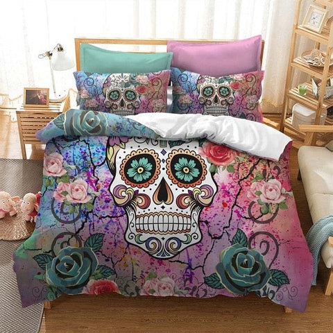 3D Bedding Set Watercolor Flower Skull Duvet Cover - Skull Clothing and Accessories Skull only Merchandise