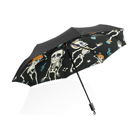 Skull Dancing Black Pattern Automatic Folding Umbrella - Skull Clothing and Accessories Skull only Merchandise