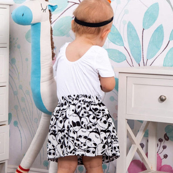 3PCS Infant Baby Girls Skull Print Romper Jumpsuit+Headband+Skirt Outfit - Skull Clothing and Accessories Skull only Merchandise