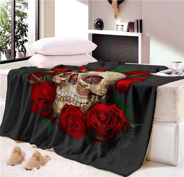 Super Soft Floral Skull Modern Throw Blanket - Skull Clothing and Accessories Skull only Merchandise