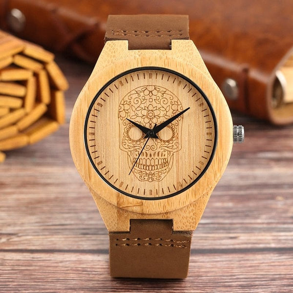 Punk Skull Ghost Bamboo Wood Leather Band Quartz Watch - Skull Clothing and Accessories Skull only Merchandise