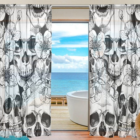 Sheer Voile Window Curtain Vintage Sugar Skull Floral Pattern - Skull Clothing and Accessories Skull only Merchandise