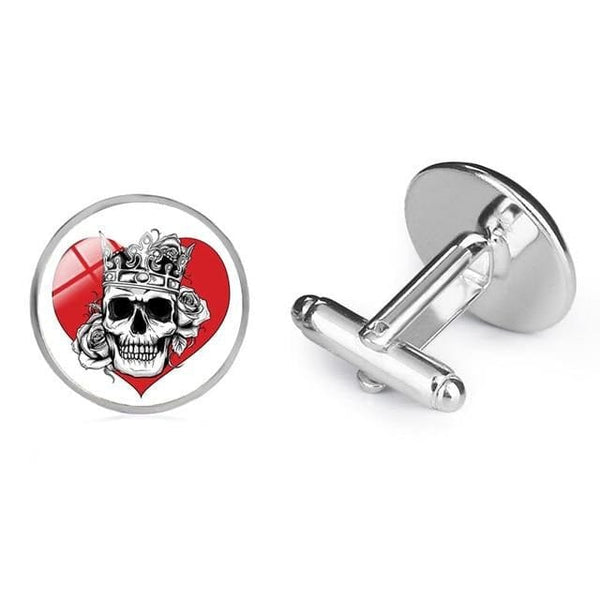 Skull Red or Black Heart Men's Cuff links Glass Dome Shirt Accessory - Skull Clothing and Accessories Skull only Merchandise