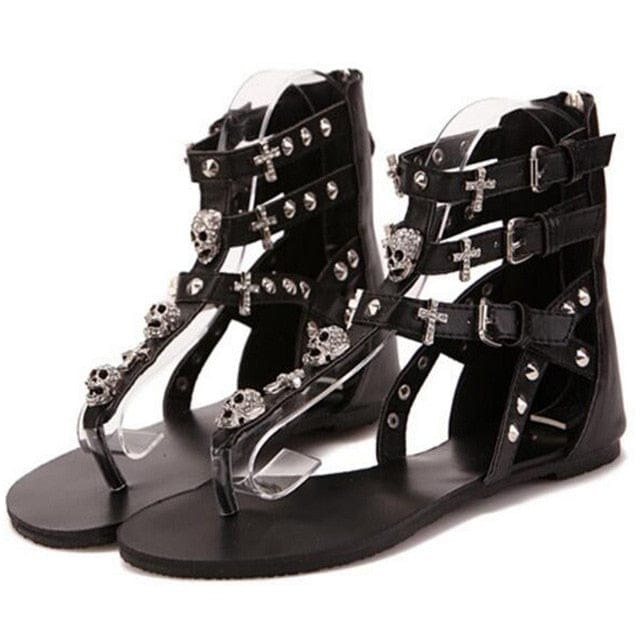 Gladiator Women Skull 💀 👡 Sandal - Skull Clothing and Accessories Skull only Merchandise