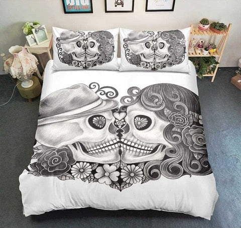 Skull Couple Duvet Cover Sets Bedroom Decor