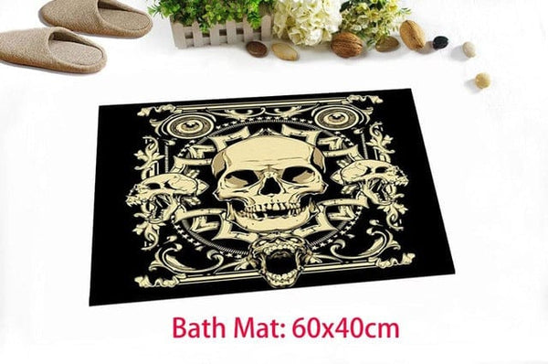 Skull Extra Long Black Shower Curtain And/or Bath Mat Set - Skull Clothing and Accessories Skull only Merchandise