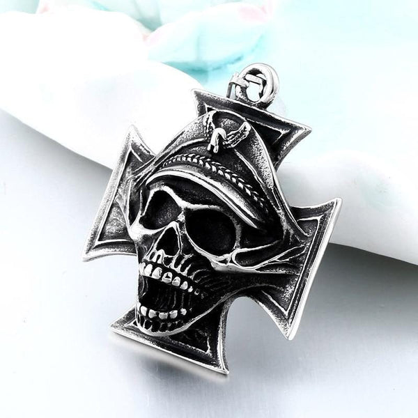 Skull Cross Pendant Punk Necklace Pendant