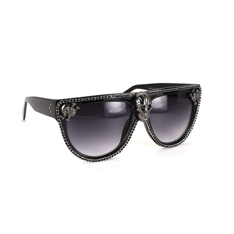 Skull 💀 👓 Rivet Black Rhinestone Sunglasses