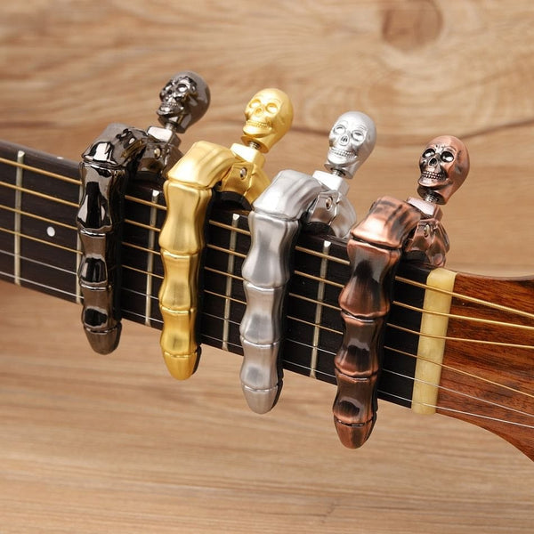 Skull 🎸💀 Fingers Design Capo for Acoustic, Electric & Ukulele Guitar Accessories - Skull Clothing and Accessories Skull only Merchandise