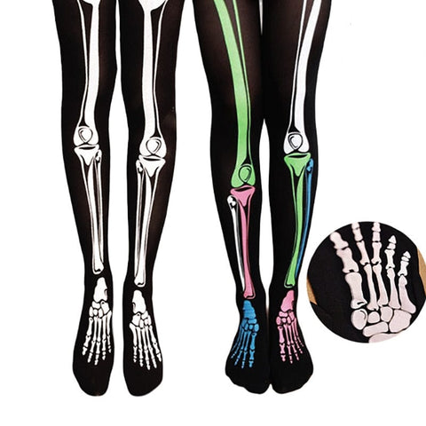 Stockings Skull Bones Black for Women - Skull Clothing and Accessories Skull only Merchandise