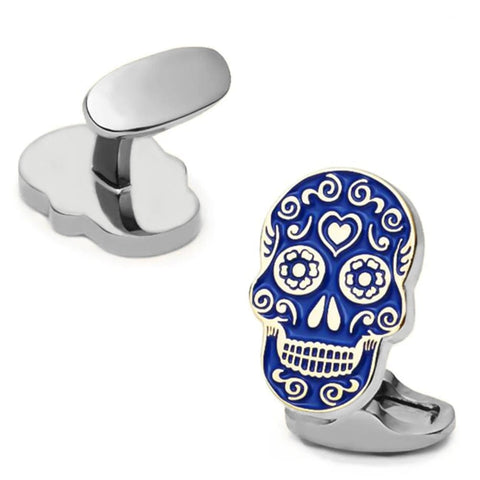 Skull Blue Painting Skeleton Head Design Quality Brass Cuff links