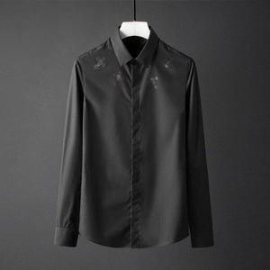 Skull Slim Fit Men's Cross Skull Design Solid Color Long Sleeve Dress Shirt