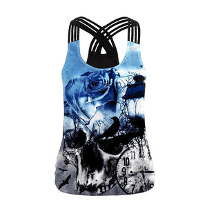 Skull Blue Rose Pattern Women's Sling Tank Top - Skull Clothing and Accessories Skull only Merchandise