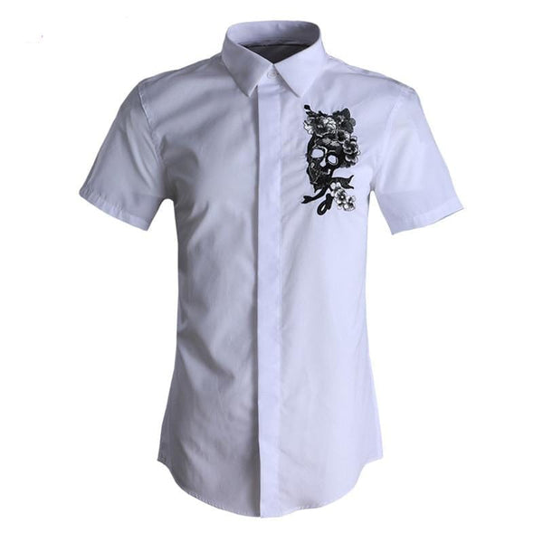 Dress Shirt Men Short Sleeve Skull Flower Embroidery - Skull Clothing and Accessories Skull only Merchandise