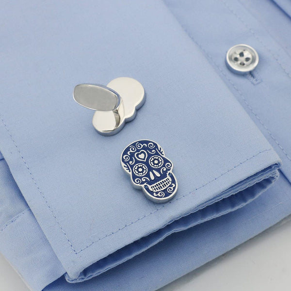 Skull Blue Painting Skeleton Head Design Quality Brass Cuff links - Skull Clothing and Accessories Skull only Merchandise
