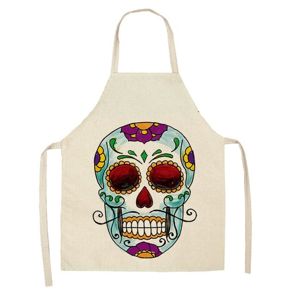 1Pc Skull Pattern Kitchen Apron for Cooking - Skull Clothing and Accessories Skull only Merchandise