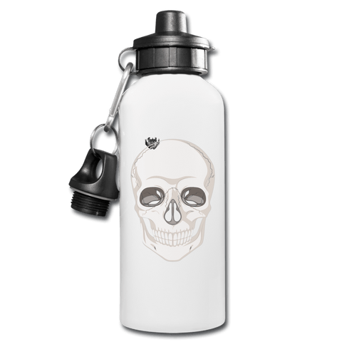 Skull Head Full White Water Bottle - white