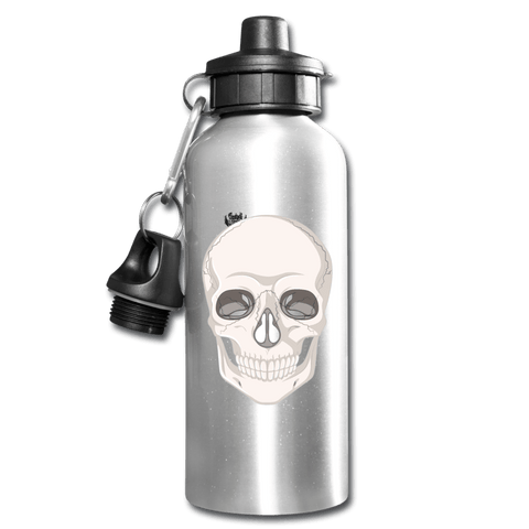 Skull Head Full Silver Water Bottle - silver