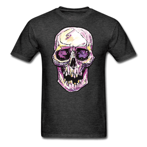 Mens Single Skull T-shirt - heather black