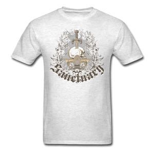 Skull with Sword on Pedestal T-Shirt - light heather gray